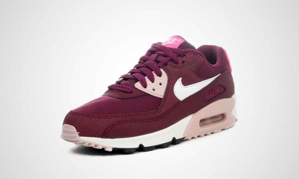 Womens Nike Air Max 90 Essential Villain Red/White-Champagne/Pink Pow 616730-600 Shoe