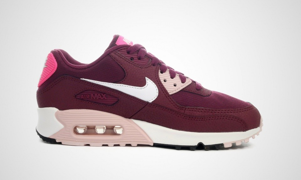 new concept 331d5 dc33e ... Womens Nike Air Max 90 Essential Villain Red White-Champagne Pink Pow  616730 ...