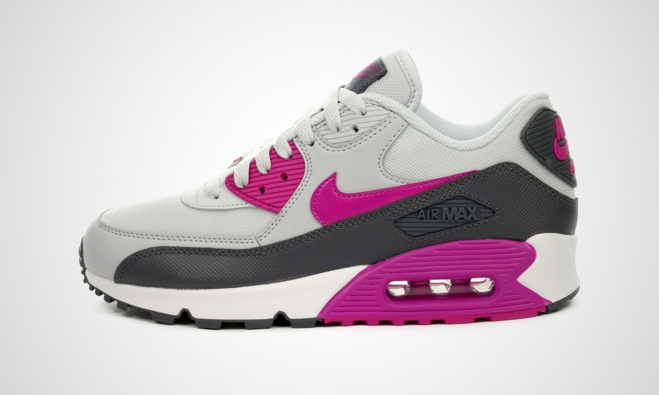 newest fabfb 9befb Womens Nike Air Max 90 Essential Pure Platinum Fuchsia Flash-Dark Grey-White