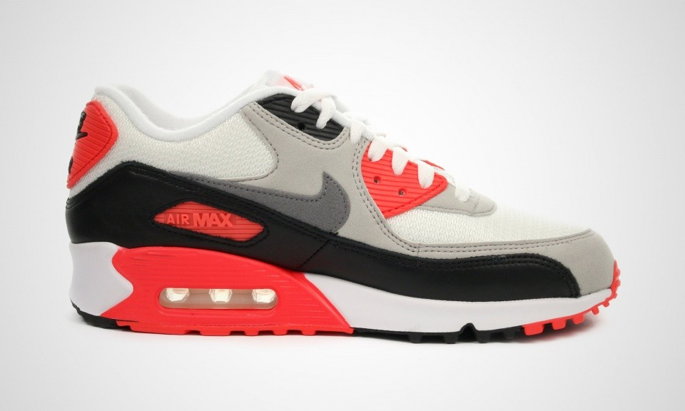 best sneakers 1982c 1d2d2 ... Womens Nike Air Max 90 OG Infrared White Cool Grey-Natural Grey-Black  ...