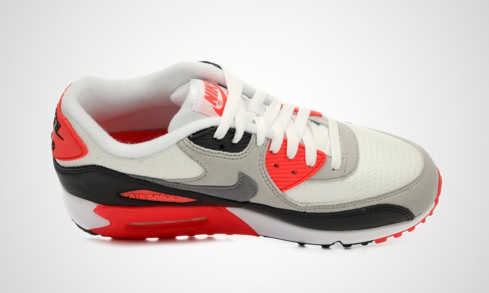 Womens Nike Air Max 90 OG Infrared White/Cool Grey-Natural Grey-Black 742455-100 Casual Shoes