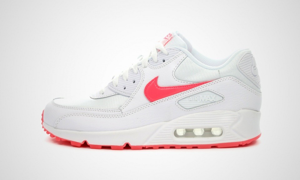 Nike Air Max 90 Glow GS Womens White/Hyper Punch/Total Crimson 685602-100 Casual Shoes