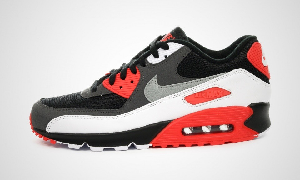 check out 064f3 cfab2 Mens Nike Air Max 90 OG Infrared Black Neutral Grey-Dark Gry-White ...