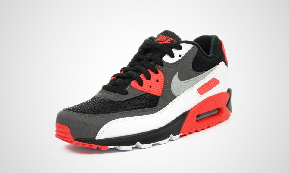 Mens Nike Air Max 90 OG Infrared Black/Neutral Grey-Dark Gry-White 725233-006 Casual Shoes