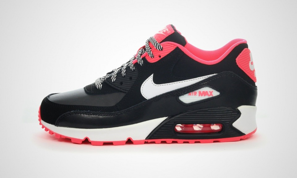 Nike Air Max 90 2007 GS Womens Black/White/Hyper Punch 345017-064 Shoe