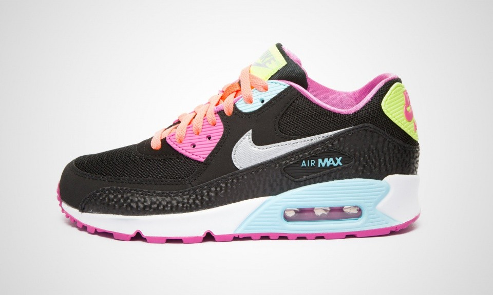 new concept 7b1d4 f277b Nike Air Max 90 GS Womens Fruit Loops Black Metallic Silver Red Volt