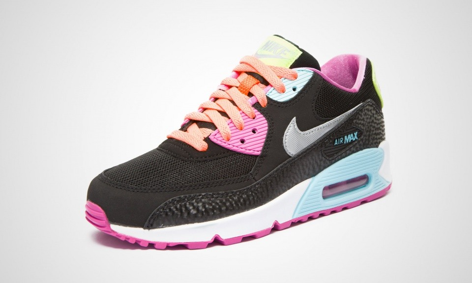 Nike Air Max 90 GS Womens Fruit Loops Black/Metallic Silver/Red/Volt/Glacier Ice 345017-063 Shoe