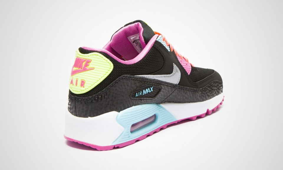 sneakers for cheap 43d80 e03c6 ... Nike Air Max 90 GS Womens Fruit Loops Black Metallic Silver Red Volt ...