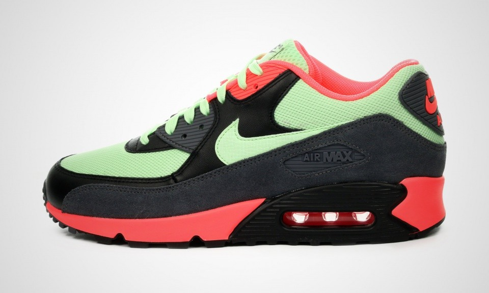 Mens Nike Air Max 90 Essential Vapor Green/Dark Grey-Black-Vibrant Orange/Mint Vapor Green 537384-303 Sneakers