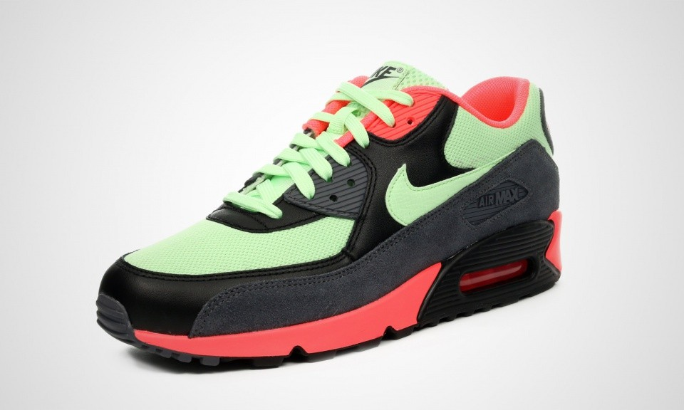 ... Mens Nike Air Max 90 Essential Vapor Green/Dark Grey-Black-Vibrant  Orange ...