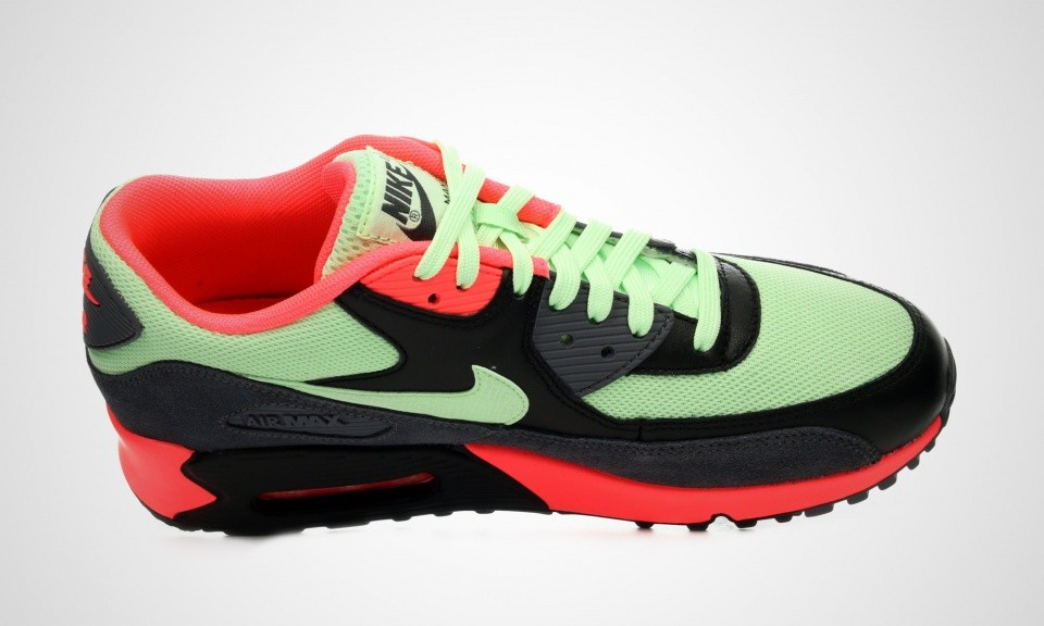 best loved c5efa 01ff7 Mens Nike Air Max 90 Essential Vapor Green Dark Grey-Black-Vibrant Orange Mint  Vapor Green 537384-303 Sneakers