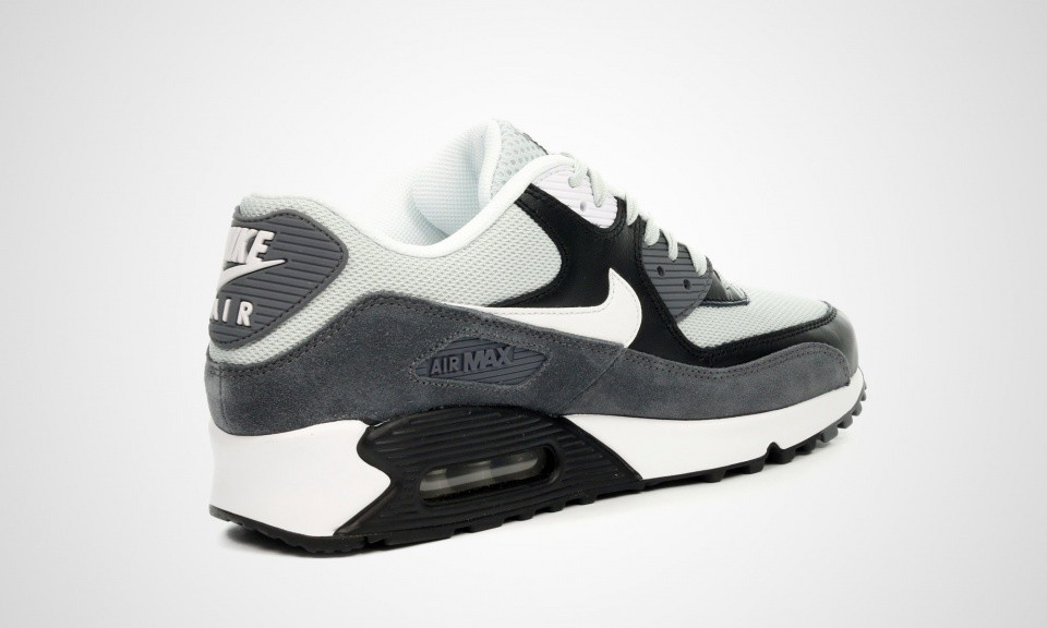 Mens Nike Air Max 90 Essential Grey Mist / White / Black 537384-037 Casual Shoes