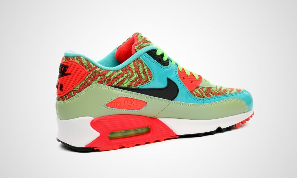 Mens Nike Air Max 90 Anniversary Flash Lime/Black-Hyper Jade-Infrared 725235-306 Sneakers