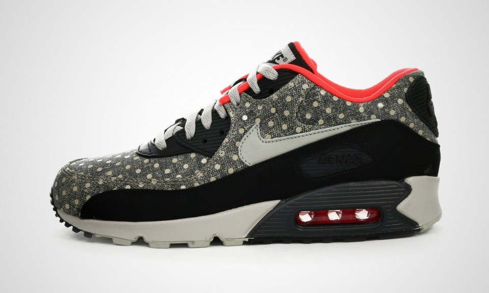 "Mens Nike Air Max 90 Leather Premium ""Polka Dot Pack"" Black/Granite-Anthracite-Bright Crimson 666578-006 Shoes"
