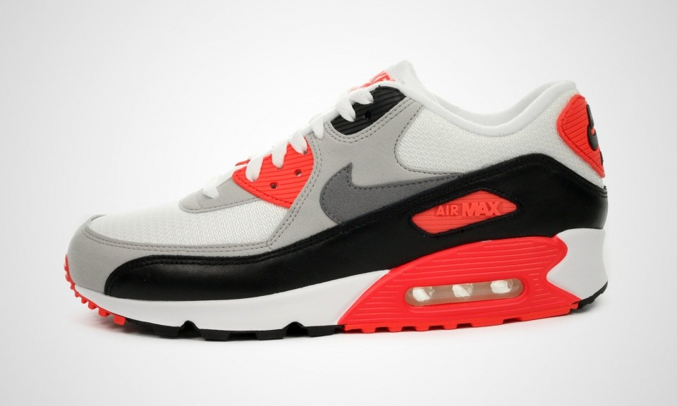 "Mens Nike Air Max 90 OG ""Infrared"" White/Cool Grey-Natural Grey-Black 725233-106 Casual Shoes"