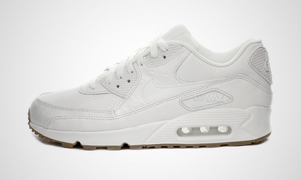 Mens Nike Air Max 90 Leather PA Ostrich and Gum Pack White/White-Gum Light Brown 705012-111 Trainer