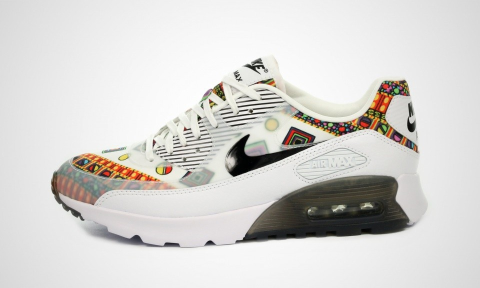 "Womens Nike x Liberty Air Max 90 Ultra Essential QS ""Merlin Pack"" White/Black 746632-100 Shoe"
