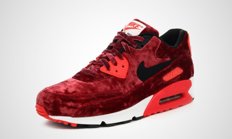 wholesale dealer a85fd c9a0c ... Mens Nike Air Max 90 Anniversary Gym Red Black-Infrared-Metallic Gold  725235 ...