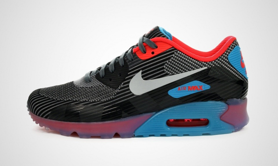 Mens Nike Air Max 90 QS Knit Jacquard Ice Dark Grey/Wolf Grey-Black-Blue Lagoon 744553-001 Casual Shoes