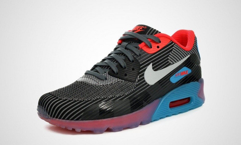 more photos f7366 5a672 ... Mens Nike Air Max 90 QS Knit Jacquard Ice Dark Grey Wolf Grey-Black ...
