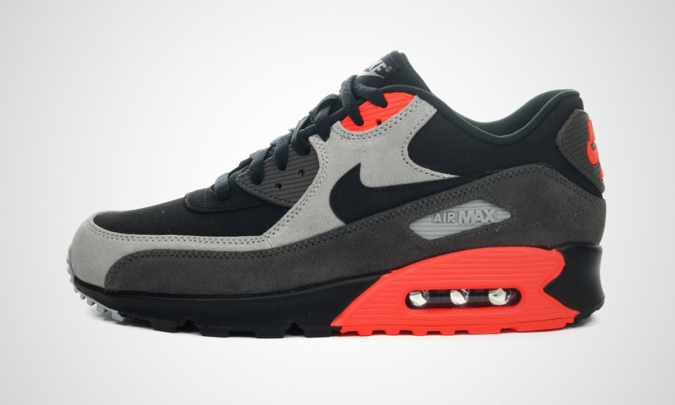 Mens Nike Air Max 90 LTR PRM Black/Black/Medium Ash/Total Crimson 666578-003 Shoe