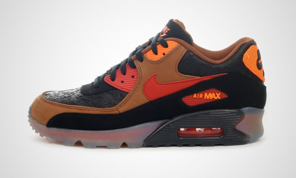 Mens Nike Air Max 90 ICE QS Halloween Pack Black/Team Red/Cognac/Total Orange 717942-006 Shoes