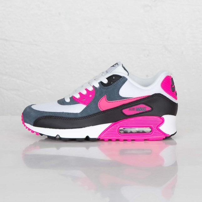 8827513dd9 Womens Nike Air Max 90 Essential White/Pink Foil/Black/Dark Armory Blue ...
