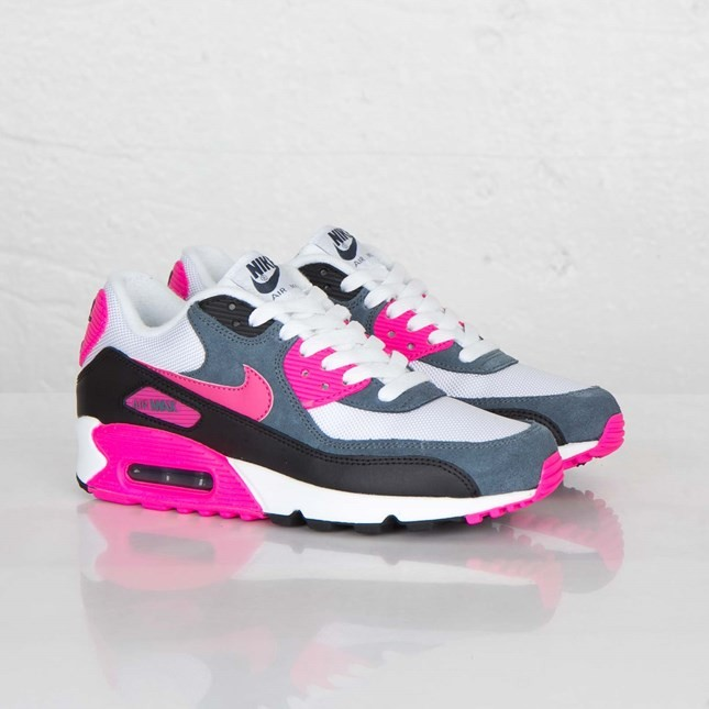 Womens Nike Air Max 90 Essential White/Pink Foil/Black/Dark Armory Blue 616730-100 Sneakers