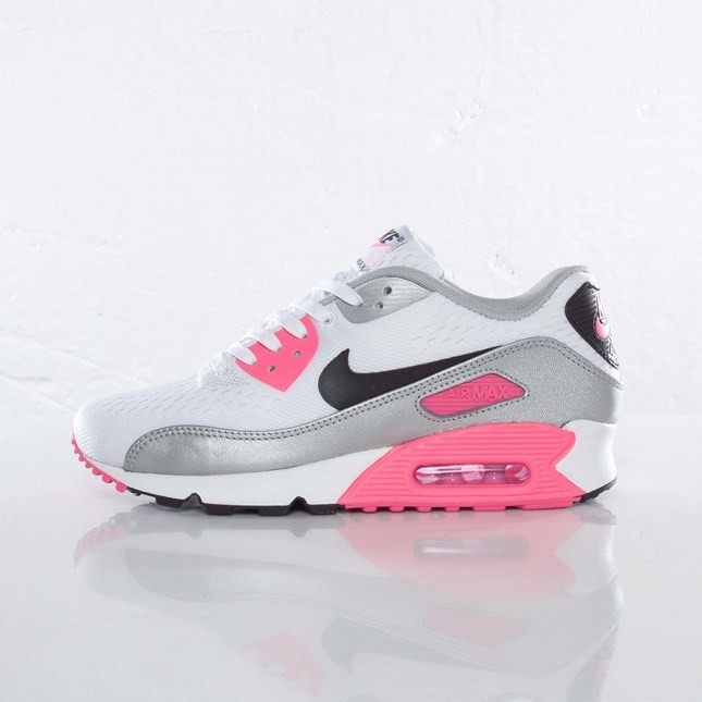 Womens Nike Air Max 90 EM White/Black/Pink Flash/Metallic Silver 553564-160 Sneakers