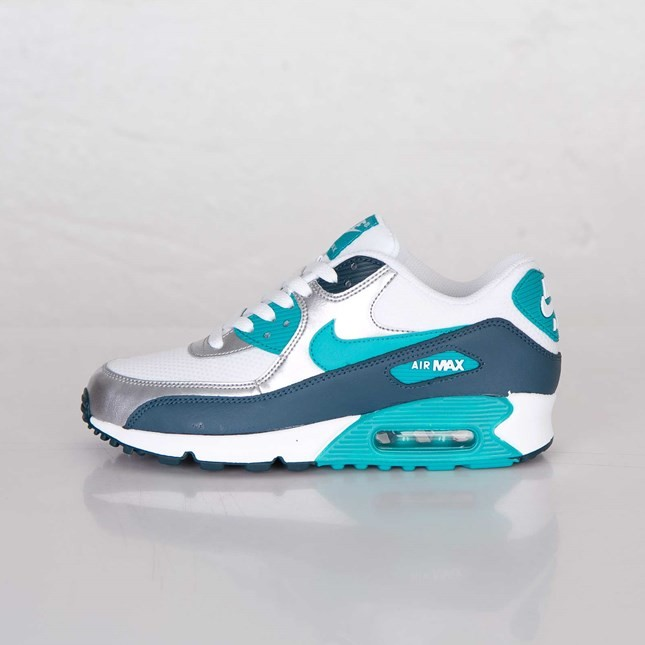 on sale 49307 7bb48 Womens Nike Air Max 90 Essential White Turbo Green Night Shade Metallic  Silver ...