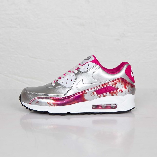 Womens Nike Air Max 90 Premium QS Air Brush Pack Metallic Silver/White-Pink Pow-Fireberry 744596 001 Trainer