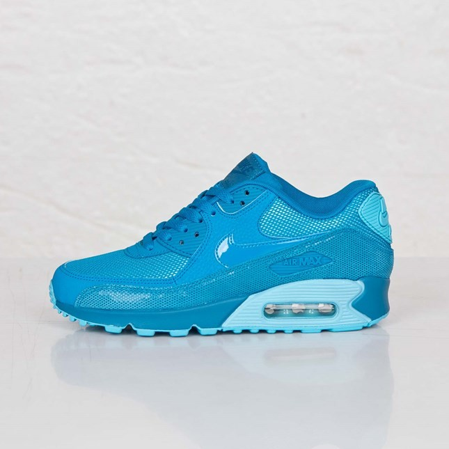 Womens Nike Air Max 90 Premium Lt Blue Lacquer-Clearwater 443817-401 Casual Shoes