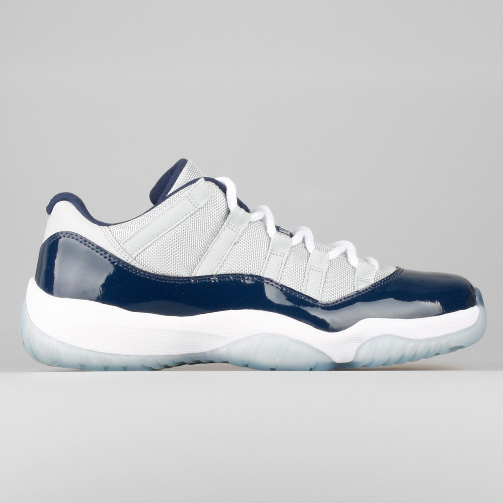 25b5e3e88719 Mens Nike Air Jordan 11 Retro Low Georgetown Grey Mist White-Midnight Navy  528895