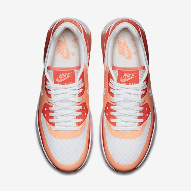 Womens Nike Air Max 90 Ultra BR Breathe White/Hot Lava/Sunset Glow 725061-100 Casual Shoes