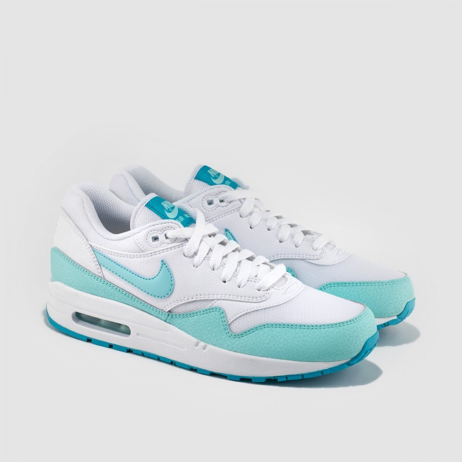 buy popular d6230 f946e ... Womens Nike Air Max 1 Essential White Light Retro Artisan Teal  599820-113 ...