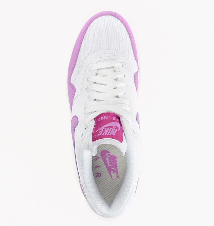 Womens Nike Air Max 1 Essential White/Fuchsia Flash/Fuchsia Glow 599820-116 Trainer