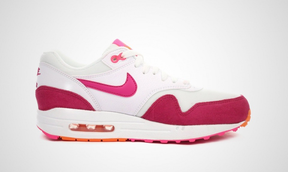 Womens Nike Air Max 1 Essential White/Fireberry-Pink Pow-Total Orange 599820-112 Casual Shoes
