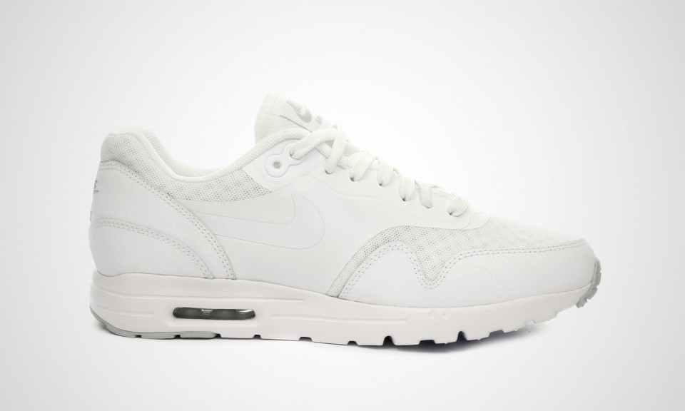 Womens Nike Air Max 1 Ultra Essential White/White-Metallic Silver 704993-101 Casual Shoes