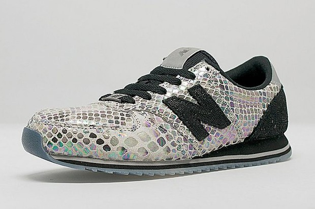 New Balance 420 Iridescent Snakeskin Womens Trainers Grey Black