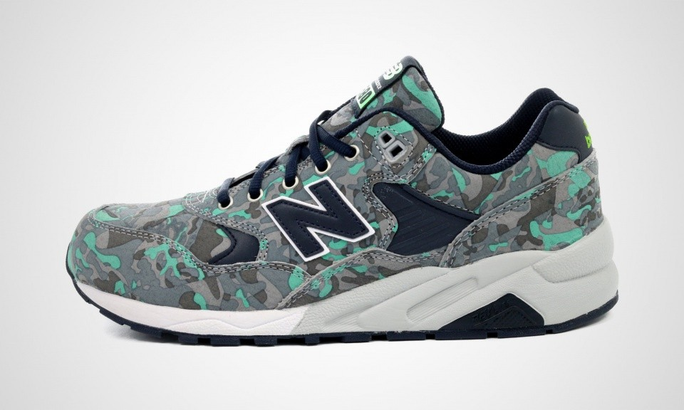 Men's New Balance 580 MRT580CC Camo Print Trainers Grey Midnight Navy White Green 417771-6012