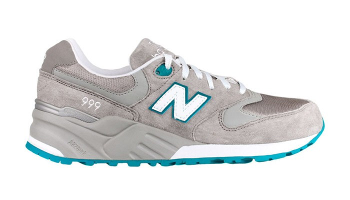 Womens New Balance 999 Suede / Mesh Walking Shoes Light Grey Teal White