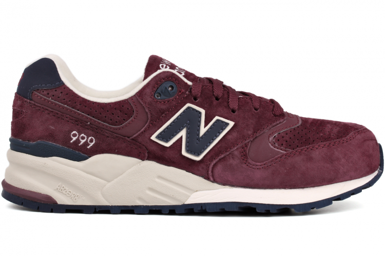 New Balance 999 ML999BNV Suede Mens Running Sneaker Burgundy Maroon / Navy
