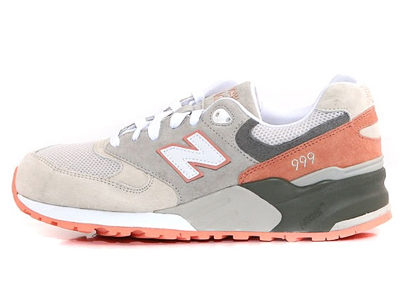 Womens New Balance 999 Cherry Blossom Pack – Salmon Pink Shoes Salmon Pink Grey White