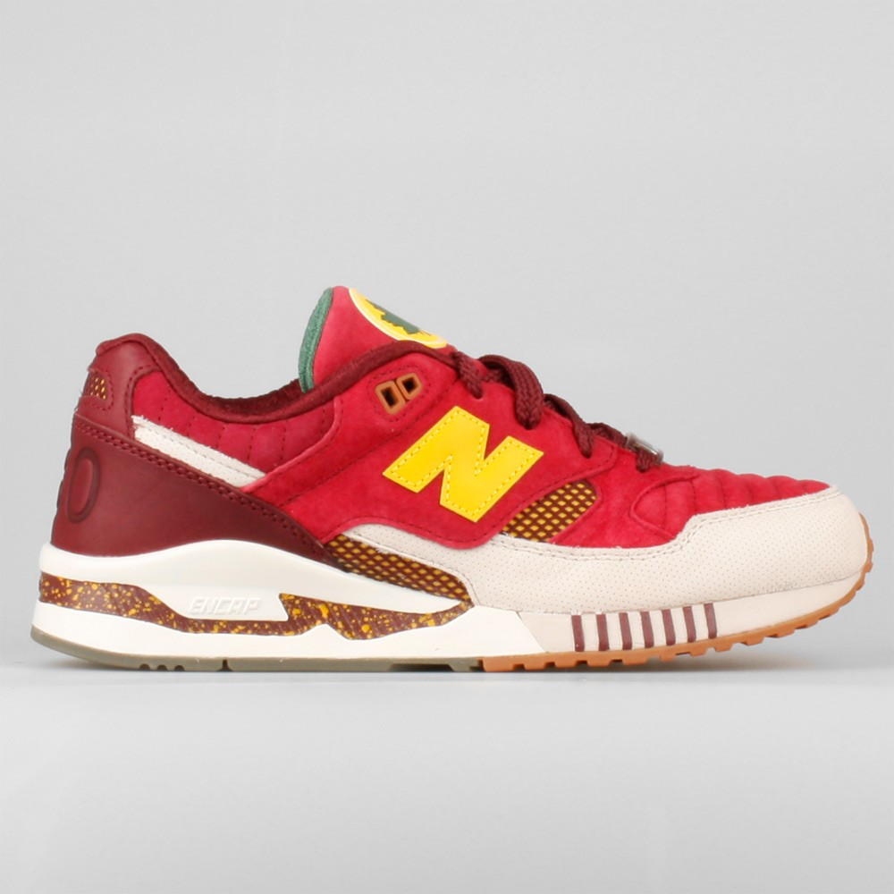 Mens Ronnie Fieg x Kith x New Balance 530 Central Park Running Sneaker Red/Light Bone/Yellow