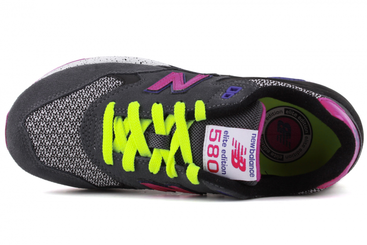 Women New Balance 580 Elite Edition WRT580GY Trainers Charcoal Grey/Purple/Black/Lime Green