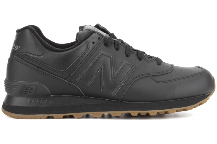 Unisex New Balance NB574BAB Leather 574 Sneakers Black Gum Brown