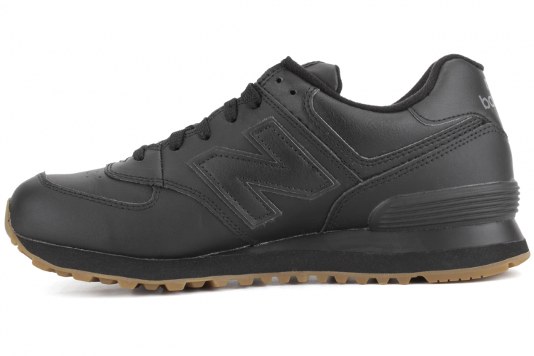 New Balance NB574BAB Leather 574 Sneakers Mens Black Gum Brown