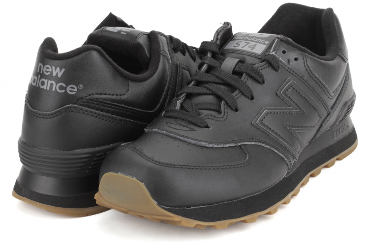 c3426cd11 ... New Balance NB574BAB Leather 574 Sneakers Mens Black Gum Brown ...