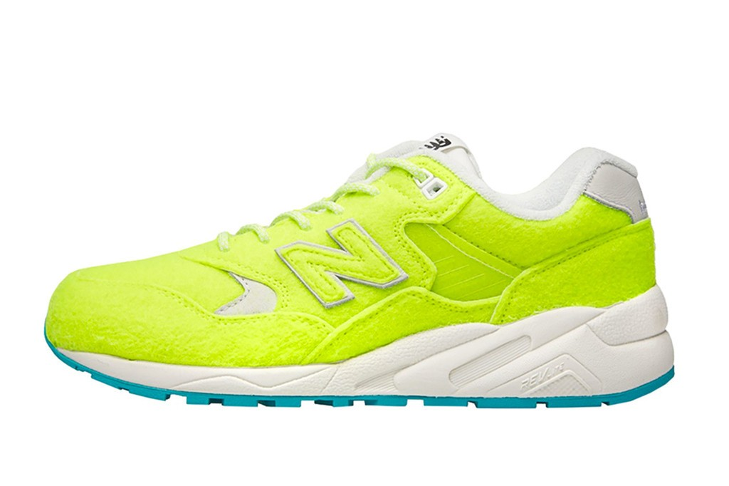 "Womens Mita x New Balance MRT580 ""The Battle Of Surfaces"" Sneakers Volt Flash Lime White Teal"