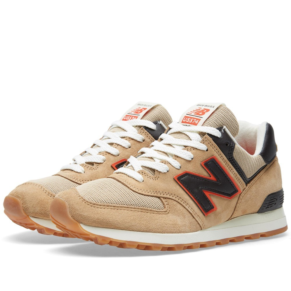 Men's New Balance US574BB - Made In The USA Shoes For Running Tan Brown/Orange/Black